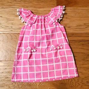 Kelly's Kids Pink Windowpane Dress Pom Poms Summer